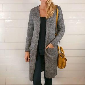 Old Navy Long Cardigan Light Gray Knit Sweater
